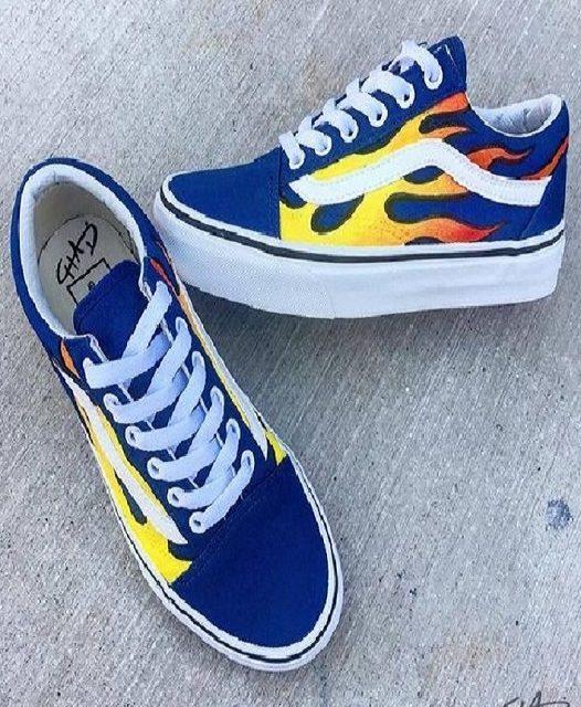 Flames Hand Painted Vans Authentics Shoes