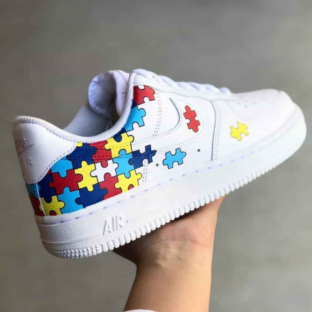 Puzzles painted white Nike air force 1s